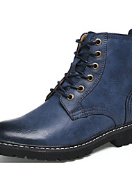 cheap -Men's Shoes Cowhide Winter Fall Combat Boots Comfort Boots for Casual Gray Brown Blue