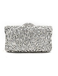 cheap -Women Bags Metal Evening Bag Crystal Detailing Flower(s) for Wedding Event/Party All Season Silver