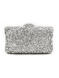 baratos -Mulheres Bolsas Metal Bolsa de Festa Detalhes em Cristal / Flor Geométrica Prata / Sacolas de casamento / Sacolas de casamento