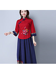 cheap -Women's Daily Vintage Shirt,Solid Embroidery Stand Long Sleeves Linen