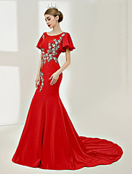 economico -A sirena Con decorazione gioiello Strascico di corte Raso Notte fuori & Special occasion Serata formale Vestito con Ricami Perline di SG