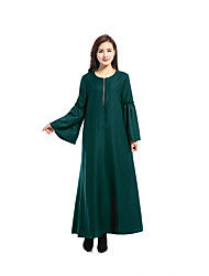 cheap -Women's Silk Swing Dress - Solid Colored Maxi