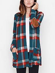 economico -Cappotto Da donna Per uscire Casual Vintage Moda città Primavera Autunno,Monocolore A quadri Poliestere Lungo Manica lunga