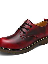 Недорогие -Муж. обувь Материал на заказ клиента Зима Осень Удобная обувь Туфли на шнуровке для Повседневные Офис и карьера Черный Серый Коричневый