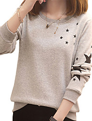 Women's Daily Wear Hoodie & Sweatshirt Polka Dot Round Neck Micro-elastic Cotton Long Sleeves Fall