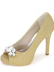 preiswerte -Damen Schuhe Glitzer Frühling Sommer Pumps Hochzeit Schuhe Stöckelabsatz Peep Toe Strass für Hochzeit Party & Festivität Gold Schwarz