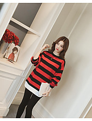 cheap -Women's Daily Street chic T-shirt,Striped Color Block Round Neck Long Sleeves Cotton Polyester