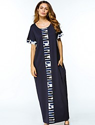 cheap -Women's Daily Tunic Dress,Color Block Round Neck Maxi Long Sleeve Polyester All Season Mid Rise Micro-elastic Opaque