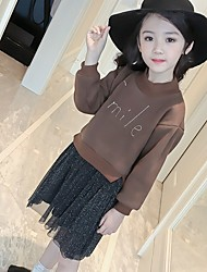cheap -Girl's Daily Print Dress,Polyester Winter Long Sleeve Casual Brown Black