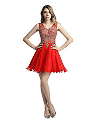 cheap -A-Line V Neck Short / Mini Chiffon Corded Lace Graduation / Cocktail Party / Prom Dress with Appliques by Sarahbridal