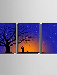 baratos -Arte em Quadros LED Paisagem 3 Painéis Vertical Estampado Decoração de Parede Decoração para casa