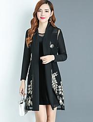 Tee-Shirt Robes Costumes Femme,Couleur Pleine Géométrique Sortie simple Automne