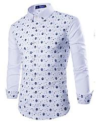Masculino Camisa Social Para Noite Casual Moda de Rua Poá Poliéster Colarinho de Camisa Manga Longa