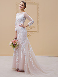cheap -Sheath / Column Illusion Neckline Court Train Tulle All Over Lace Custom Wedding Dresses with Appliques Buttons by LAN TING BRIDE®