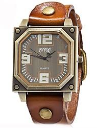 preiswerte -Herrn Quartz Armbanduhr Chinesisch Chronograph / Wasserdicht Echtes Leder Band Freizeit / Modisch Schwarz / Weiß / Blau / Rot / Orange /