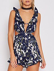 Women's Event/Party Casual Sexy Floral Color Block V Neck Rompers