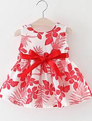 baratos -Menina de Vestido Para Noite Floral Raiom Sem Manga Princesa Moda de Rua Azul Verde Vermelho