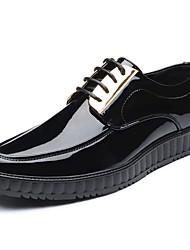 Недорогие -Муж. обувь Искусственное волокно Весна Осень Удобная обувь Туфли на шнуровке для Повседневные Черный