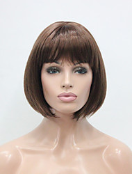 cheap -Auburn Short Straight Bangs Synthetic Hair Women's BOB Full Wig Center Skin Top
