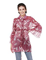 Women's Going out Casual/Daily Street chic Spring Fall/Autumn ShirtPrint Shirt Collar Long Sleeves Nylon Semi-opaque