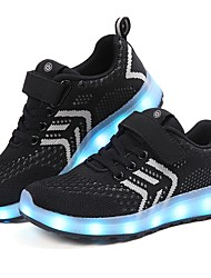 Boys' Shoes Breathable Mesh Fabric Winter Fall Light Up Shoes Comfort Sneakers Magic Tape LED For Casual Green/Blue Black/Red Pink Black