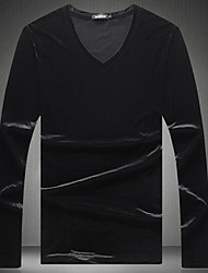 Masculino Camiseta Para Noite Casual Moda de Rua Sólido Poliéster Decote V Manga Longa