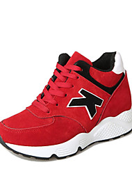 Women's Shoes PU Winter Fall Comfort Athletic Shoes Walking Shoes Round Toe Lace-up for Athletic Casual Black Gray Red