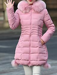 economico -Per donna Romantico Essenziale Imbottito - Strappato Colletto di pelliccia, Tinta unita