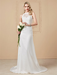 cheap -Sheath / Column Illusion Neckline Sweep / Brush Train Chiffon Lace Wedding Dress with Appliques Buttons by