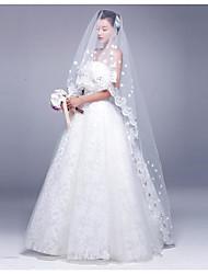 cheap -One-tier Lace Applique Edge Wedding Veil Chapel Veils 53 Applique Satin Flower Rhinestones Tulle