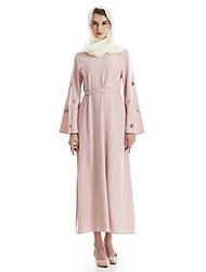 Women's Daily Boho Kaftan Dress,Solid Round Neck Maxi Long Sleeve Polyester Spring Fall High Waist Micro-elastic Thin