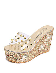 Women's Sandals Comfort PU Spring Summer Casual Dress Comfort Wedge Heel Gold Silver 2in-2 3/4in