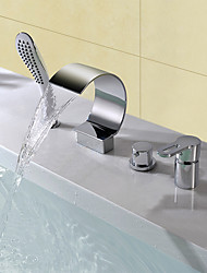 cheap -Bathtub Faucet - Contemporary Modern Style Chrome Widespread Ceramic Valve