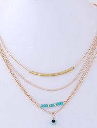 Недорогие -Жен. Сглаз форма Мода европейский Слоистые ожерелья Резина Сплав Слоистые ожерелья Повседневные Бижутерия