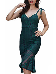 cheap -Women's Party Club Vintage Sexy Bodycon Trumpet/Mermaid Dress,Solid Strap Knee-length Sleeveless Polyester High Rise Micro-elastic Medium