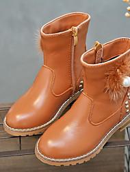 baratos -Para Meninas Sapatos Couro Outono / Inverno Botas de Neve Botas para Preto / Marron / Vermelho