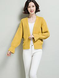 Damer Afslappet/Hverdag Normal Cardigan Ensfarvet,V-hals Langærmet Polyester Nylon Forår Efterår Medium Mikroelastisk
