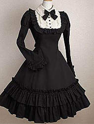 cheap -Gothic Lolita Dress Princess Punk Women's Girls' One Piece Dress Cosplay Black Cap Short Sleeves Short / Mini