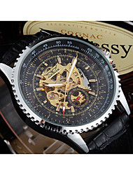 WINNER Men's Dress Watch Wrist watch Mechanical Watch Automatic self-winding Hollow Engraving Leather Band Vintage Casual Black