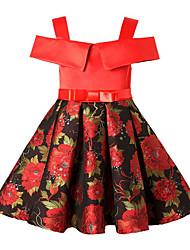 preiswerte -Mädchen Kleid Baumwolle Polyester Ärmellos Freizeit Schwarz Rote