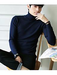 Standard Pullover Da uomo-Casual Tinta unita Dolcevita Manica lunga Altro Autunno Spesso strenchy