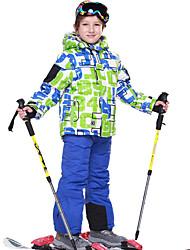 Phibee Veste & Pantalons de Ski Garçon Ski Etanche Garder au chaud Pare-vent Vestimentaire Respirable Antistatiques Polyester Ensemble de