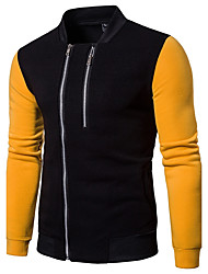 Men's Daily Going out Casual Hoodie & Sweatshirt Solid Round Neck Inelastic Cotton Long Sleeves Spring/Fall