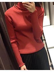 preiswerte -Damen Standard Pullover-Lässig/Alltäglich Solide Rollkragen Langarm Baumwolle Acryl Winter Mittel Mikro-elastisch