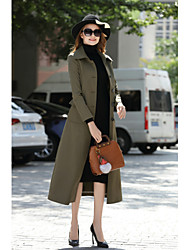 cheap -Women's Daily Work Simple Vintage Casual Street chic Winter Fall Coat,Solid Shirt Collar Long Sleeves Long Cotton Polyester Formal Style