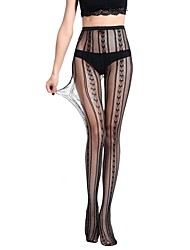 cheap -Women's Thin Pantyhose,Nylon Striped Jacquard One-piece Suit Black