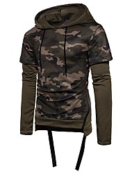 Men's Sports Daily Casual Vintage Hoodie Camouflage Cut Out Hooded Hoodies Without Lining Micro-elastic Cotton Long Sleeve Winter