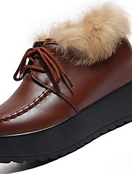 cheap -Women's Shoes PU Winter Comfort Oxfords Flat Heel Round Toe for Casual White Black Brown