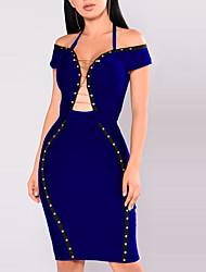 Moulante Robe Femme Décontracté / Quotidien Soirée Rétro Sexy,Mosaïque Chaussures à trous Licou Au dessus du genou Sans Manches Polyester