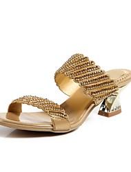 abordables -Mujer Zapatos Semicuero Primavera / Verano Botas de Moda Sandalias Puntera abierta Pedrería / Cristal / Purpurina Negro / Plata / Morado